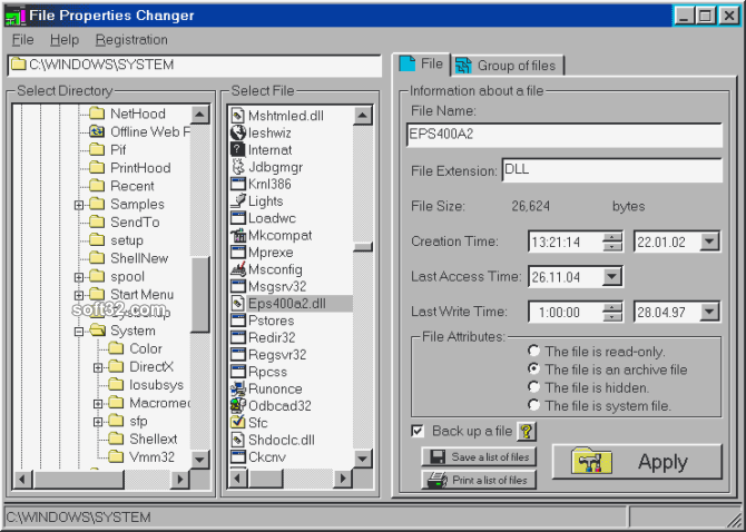 File Properties Changer Screenshot 2