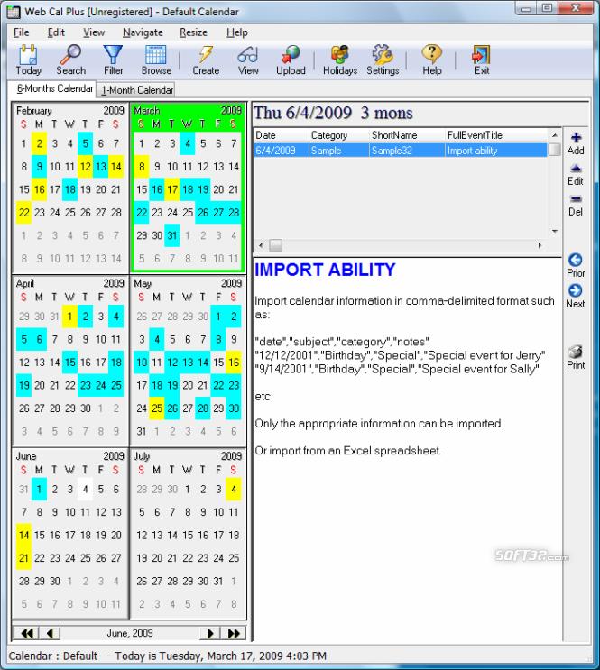 Web Cal Plus Screenshot 3