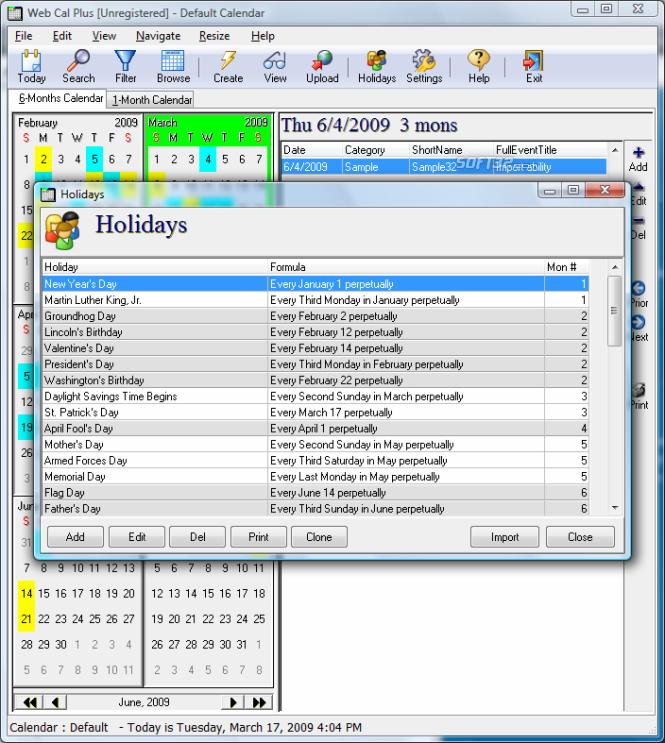 Web Cal Plus Screenshot 4