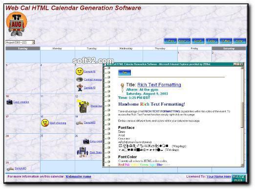 Web Cal Plus Screenshot 2