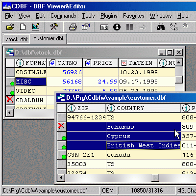 CDBF - DBF Viewer and Editor Screenshot