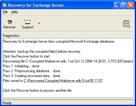 Recovery for Exchange Server Screenshot