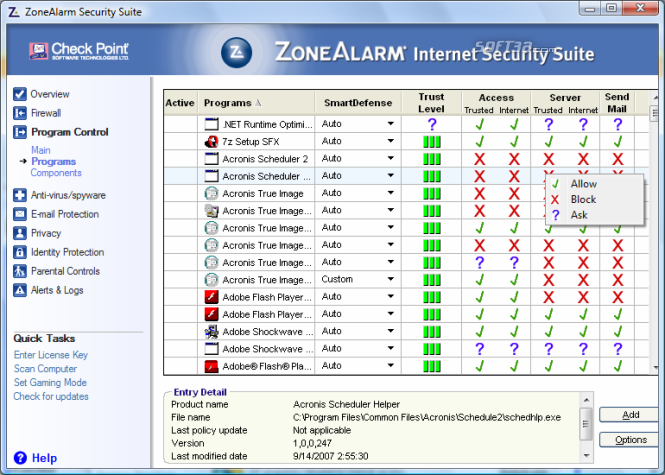 ZoneAlarm Security Suite Screenshot 3