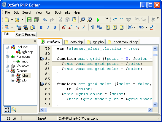 DzSoft PHP Editor Screenshot 1