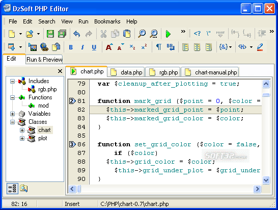 DzSoft PHP Editor Screenshot 2