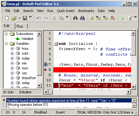 DzSoft Perl Editor Screenshot