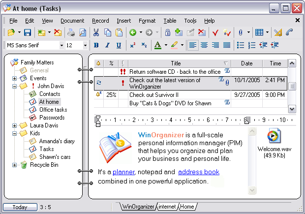 WinOrganizer Screenshot