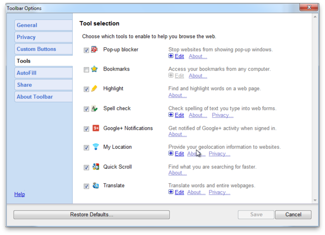 Google Toolbar Screenshot 1