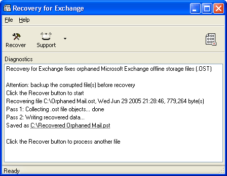 Recovery for Exchange Screenshot