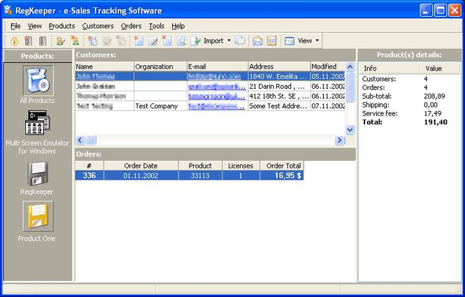 RegKeeper- e-Sales Tracking Software Screenshot