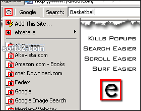 etcetera: Search Toolbar Screenshot