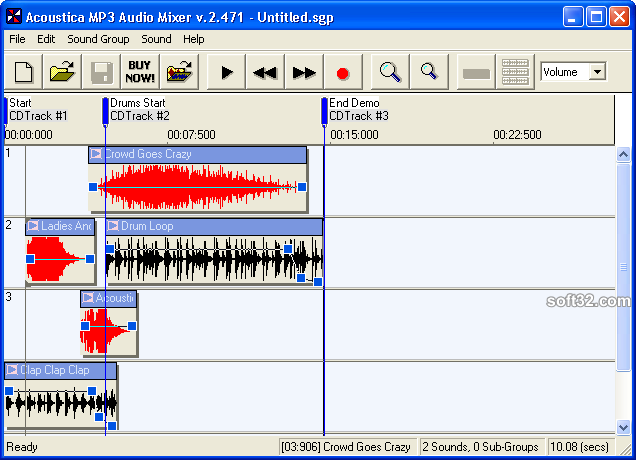 Acoustica MP3 Audio Mixer Screenshot