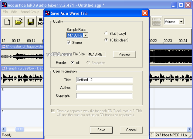 Acoustica MP3 Audio Mixer Screenshot 3
