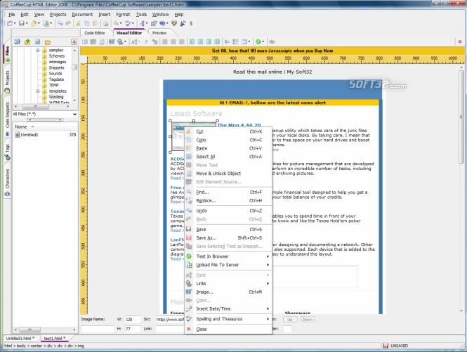 CoffeeCup HTML Editor Screenshot 2