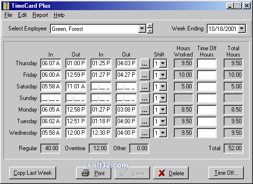 TimeCard Standard Screenshot 3