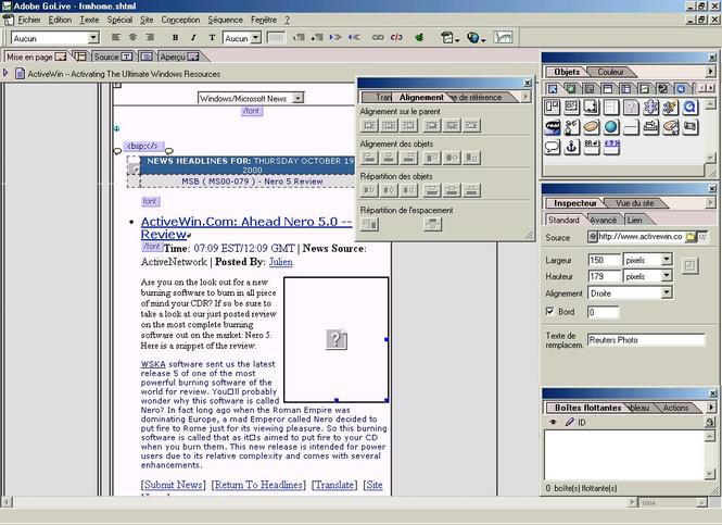 Adobe GoLive Screenshot