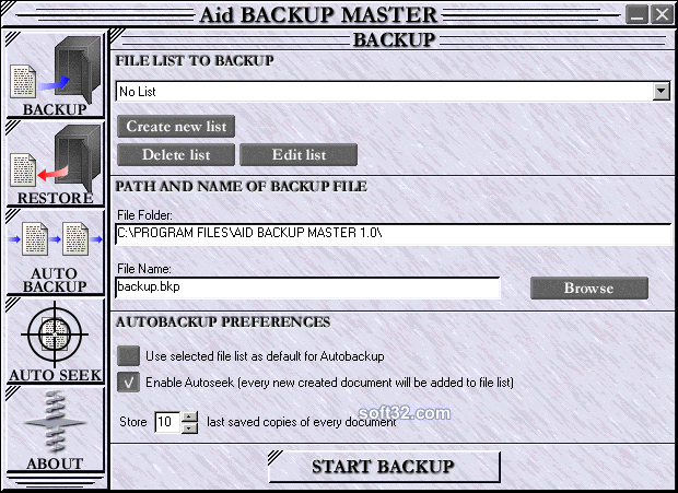 Aid Backup Master Screenshot