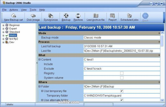 Backup-2006 Studio Screenshot