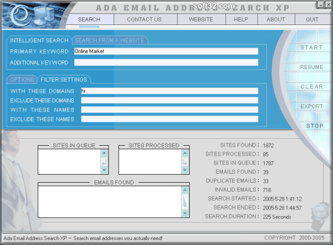 Ada Email Address Search XP Screenshot 1