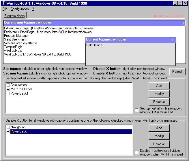 WinTopMost Site License Screenshot