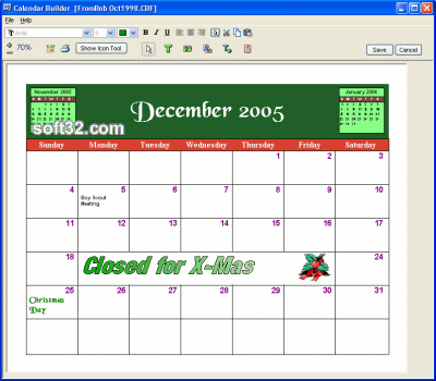Calendar Builder Screenshot