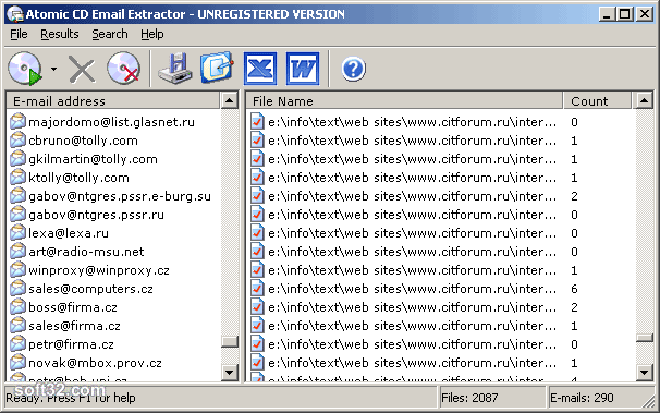 Atomic CD Email Extractor Screenshot 3