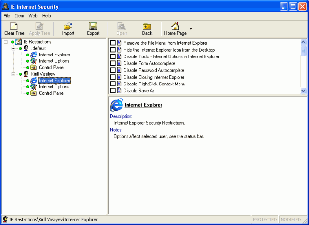 IE Internet Security Screenshot 1