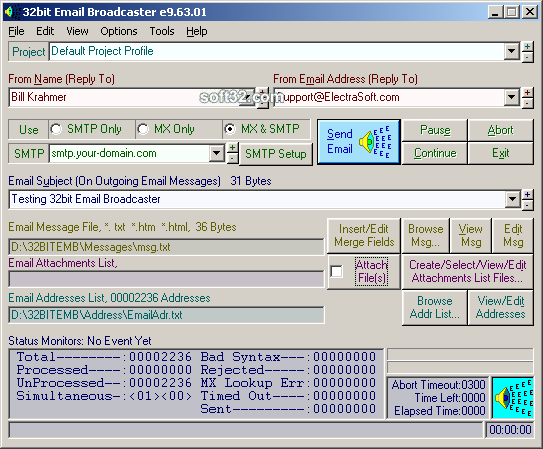 32bit Email Broadcaster Screenshot 2