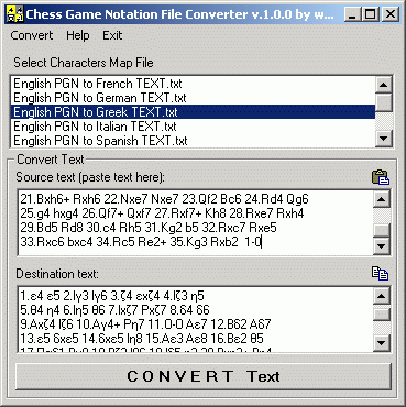 Chess Game Notation File Converter Screenshot
