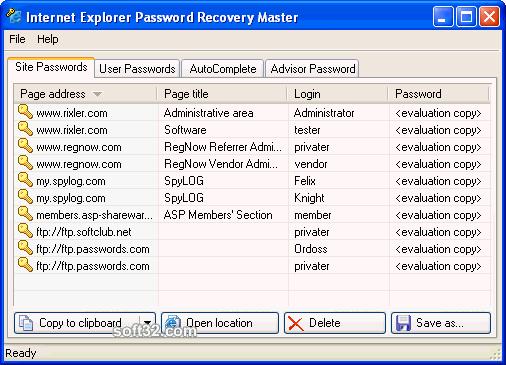 Internet Explorer Password Recovery Master Screenshot 2
