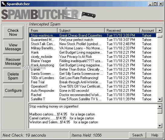 SpamButcher Screenshot 2