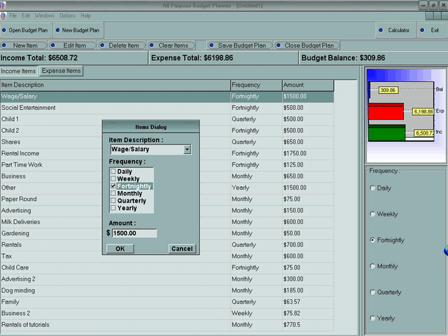 APSW Budget Planner Screenshot