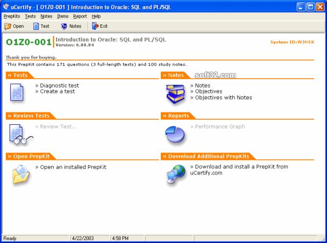 uCertify OCP DBA9i PL/SQL - 1Z0-001 exam Screenshot 3