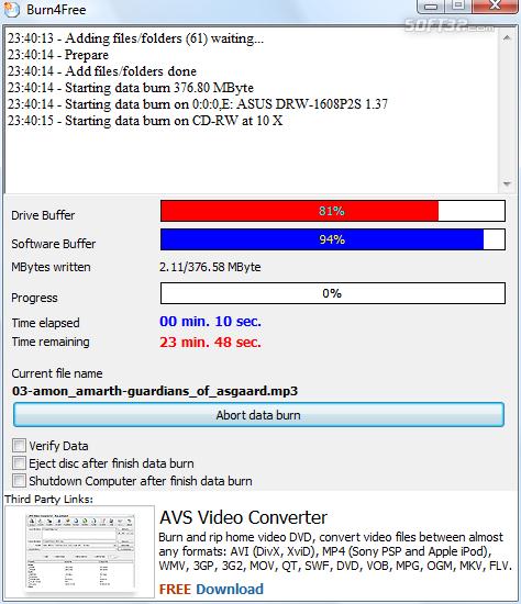 Burn4Free DVD Burning software Screenshot 2