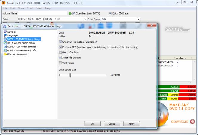 Burn4Free DVD Burning software Screenshot 3