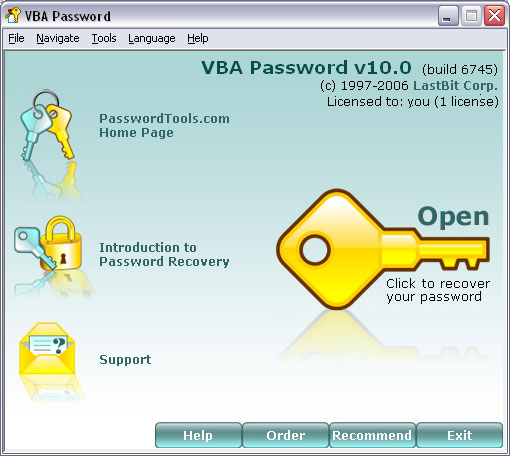 LastBit VBA Password Recovery Screenshot