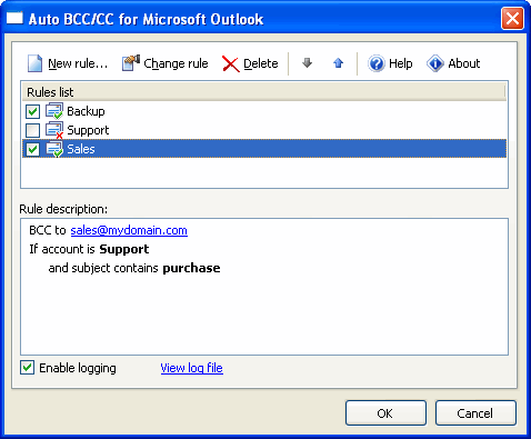 Auto BCC/CC for Microsoft Outlook Screenshot