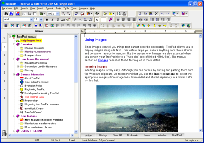 TreePad X Enterprise 12 Gb single-user Screenshot