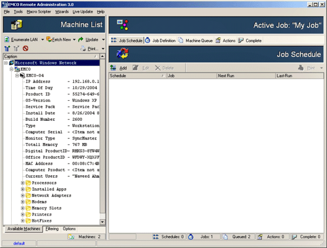 EMCO Remote Administration Screenshot