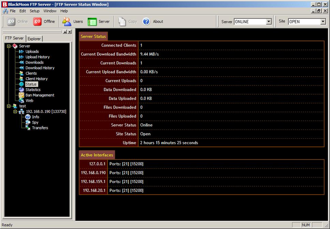 BlackMoon FTP Server Screenshot