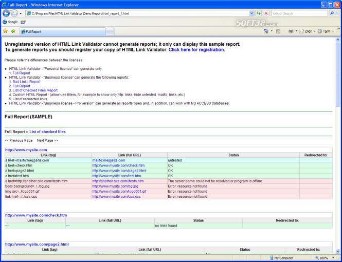 HTML Link Validator Screenshot 7