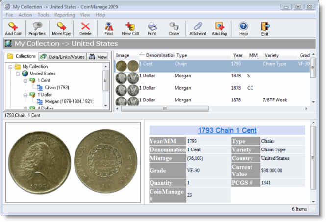 CoinManage Coin Collecting Software Screenshot