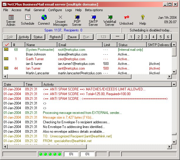 BusinessMail Email Server + Anti Spam System Screenshot
