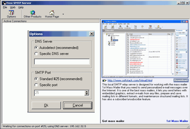 Free SMTP Server Screenshot 1