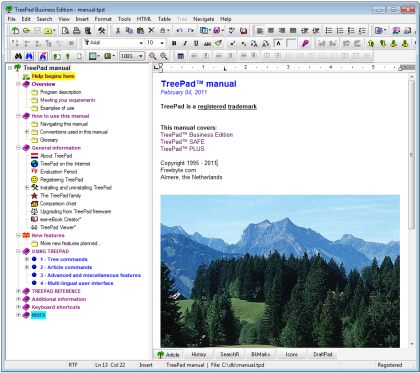 TreePad Business Edition Screenshot 1