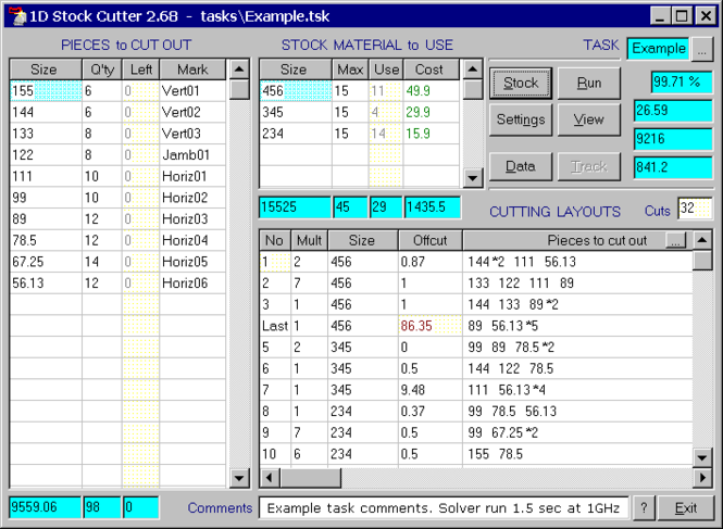1D Stock Cutter Screenshot 1