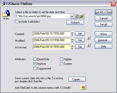 12Ghosts FileDate Screenshot