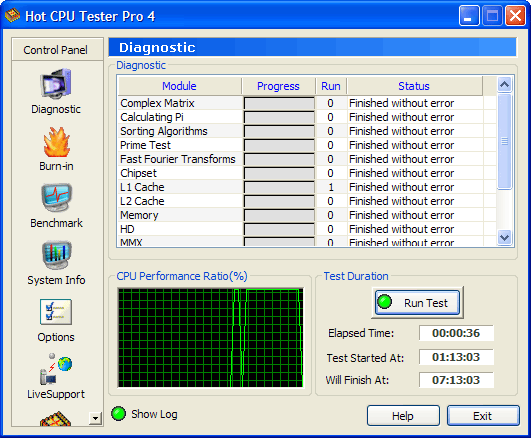 Hot CPU Tester Pro Screenshot