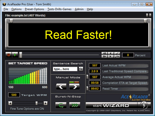 AceReader Pro Deluxe Network Screenshot