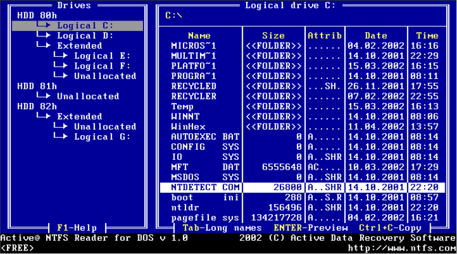 Active NTFS Reader for DOS Screenshot 1